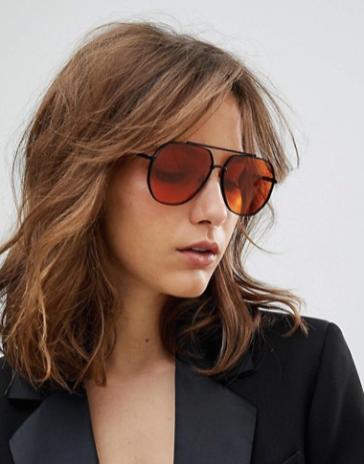 ASOS Black Metal Aviator Sunglasses